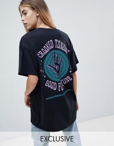 88d74cd40ea2a Crooked Tongues oversized t-shirt in black with good fortune at asos.com