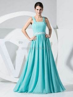 A-line Straps Chiffon Floor-length Beading Prom Dresses