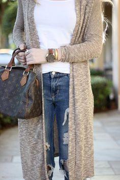 Long Cardigan + Jeans