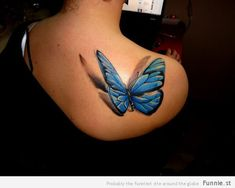 Check out this 3d butterfly tattoo with shadow!