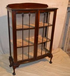 A 1920`s Mahogany Low Bow Fronted Display Cabinet, Having Lipped Back And  Gadrooned