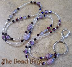 Sparkling purple and silver beaded lanyard. The Bead Bugs. http://thebeadbugs.com