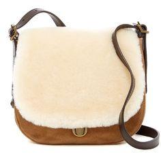 UGG Australia Heritage Suede & Genuine Lamb Fur Crossbody ($95) ❤ liked on Polyvore featuring bags, handbags, shoulder bags, che, ugg purse, crossbody purses, shoulder strap bags, ugg and beige handbags