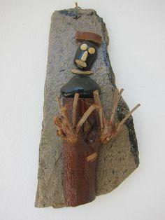 MAN looking wood (pebble work)