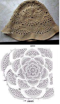 Panama Hat 3 versions free crochet graph pattern