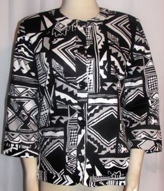 NEW Womens Ladies ALFRED DUNNER Black & White Tribal Cotton Stretch Jacket…