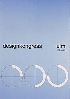 Cartaz de Otl Aicher - Congresso de Design de 1964. Escola Suíça- utilizaçao das figurwaws geométricas; harmonia