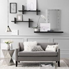 ♅ Dove Gray Home Decor ♅ grey modern eclectic living room I love the shelving on the wall!