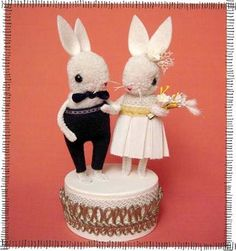 Wedding Cake Toppers by Jennifer Murphy Wedding Cake Toppers, Wedding Cakes, Jennifer Murphy, Pom Pom Animals, Opening An Etsy Shop, Pipe Cleaner Crafts, Mini Craft, Love Valentines, Cute Bunny