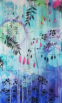 Malerei wall art print  blue creme  Fine Art von JOLINASPRINTS
