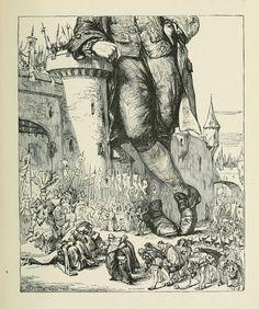 Gulliver's Travels - Voyage to Lilliput. Illustration by Thomas Morten