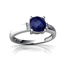 14kt White Gold Lab Sapphire and Diamond 6mm Cushion Simply Elegant Ring  Size 85 ** Check out the image by visiting the link.Note:It is affiliate link to Amazon.