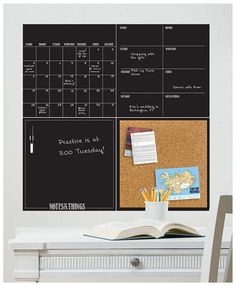Product Image for WallPops!® Dry-Erase Calendar/Weekly Planner/Notes Board/Cork Board Set in Black 2 out of Office Walls, Office Decor, Ideias Diy, Dry Erase Board, Dry Erase Calendar Board, Startup, Dry Erase Markers, Wall Organization, Weekly Planner