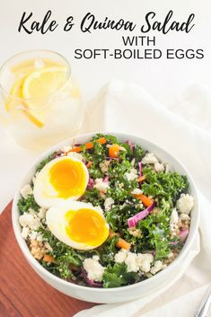 Kale and Quinoa Salad with Soft Boiled Eggs - easy make ahead meal prep lunch from @fannetasticfood
