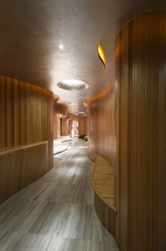 Amazing Wooden Holistic Health Club Interior Design : Wooden Curved Wall In Hallway