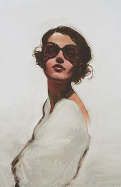 Artist: Michael Carson {contemporary figurative #expressionist beautiful female head sunglasses woman face portrait painting #loveart}