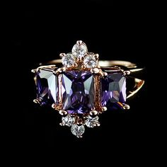 Romantic Purple Faux Crystal Embellished Alloy Ring For Women, AS THE PICTURE, ONE SIZE in Rings | DressLily.com