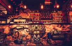 Enigma Café in Cluj, Romania is the first kinetic steampunk bar in the world. This hypnotizing place is a tribute to time and motion. The entire design was made by The 6th Sense Interior, a design company from Romania.  #enigma #bar #steampunk #kinetic #romania