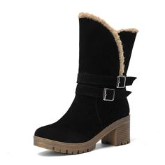 black red New Winter Shoes Woman Slip On Round Toe Snow Boots Mid Calf Boot PU leather Fashion Ladies Shoes Size 34-43