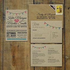 Vintage Bunting Kraft Wedding Invitation - wedding stationery