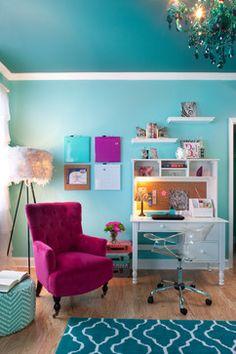 Teen Girl Bedrooms Kids Design Ideas, Pictures, Remodel and Decor Kids Bedroom Dream, Home Bedroom, Bedroom Decor, Bedroom Ideas, Bedroom Interiors, Turquoise Room, Color Turquesa, Teenage Room, Teen Girl Bedrooms