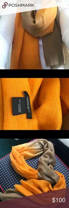 NWOT, Lafayette148, 100% cashmere wrap/scarf NWOT, Lafayette 148, wrap/scarf, khaki and Mellon umbrea.  Beautiful on a dress, crisp white shirt, sweater!  Add a bit of color!   None smoking closet! Lafayette 148 New York Accessories Scarves & Wraps