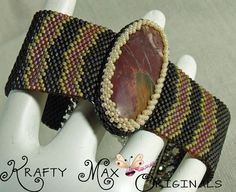 Red Creek Jasper Beadwoven Bracelet | KraftyMax - Jewelry on ArtFire