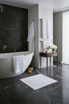 Bathroom decor for your bathroom renovation. Learn bathroom organization, master bathroom decor ideas, master bathroom tile tips, master bathroom paint colors, and much more. Bad Inspiration, Bathroom Inspiration, Black Marble Bathroom, Bathroom Grey, Bathroom Vintage, Bathroom Small, Bathroom Modern, Hipster Bathroom, Black And White Master Bathroom
