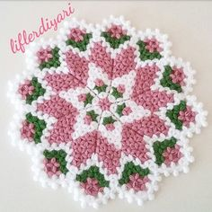 Crochet Coaster Pattern, Crochet Doily Diagram, Crochet Doilies, Crochet Flowers, Crochet Stitches, Crewel Embroidery, Embroidery Patterns, Easy Knitting Patterns, Crochet Patterns