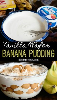 Easy banana pudding made with instant banana pudding, sour cream, whipped topping, and lots of vanilla wafers. It tastes Vanilla Wafer Banana Pudding, Vanilla Wafer Recipe, Banana Pudding From Scratch, Vanilla Pudding Recipes, Magnolia Bakery Banana Pudding, Banana Pudding Desserts, No Bake Banana Pudding, Southern Banana Pudding, Homemade Banana Pudding