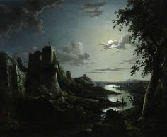 View of Pendragon Castle by Moonlight by Abraham Pether Oil on canvas, 59.5 x 76cm Collection: National Trust