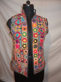 VINTAGE HAND KUTCH EMBROIDERED INDIAN TOP JACKET FLORAL FASHION MIRROR  #Handmade