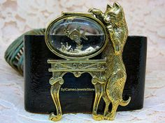 Cat and Fish Bowl Brooch Vintage Scarf Pin Gold Plated Metal