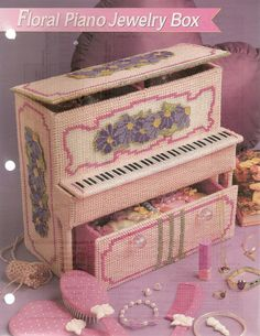 Fashion Doll Floral Piano Jewelry Box by needlecraftsupershop, $2.95