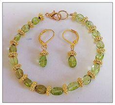 """Peridot Gemstone Bracelet & Earring Jewelry Set Flat Oval Green Gold Plate 7.25""""$39.99 #Peridot #Gemstone #Bracelet #Earring #JewelrySet #Designer #FreeShipUSA #FashionPolice"""