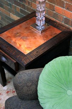Side Table / Night Stand, Distressed Copper Inlay, Reclaimed Wood, Dark Brown Waxed Finish - Handmade