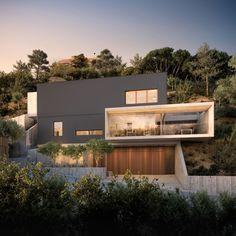 Architekturvisualisierungen, C House LA Hillside Villas, Hillside House, Architecture Jobs, Modern Architecture Design, Modern House Facades, Modern House Design, Exterior Gris, Ultra Modern Homes, Unique Buildings