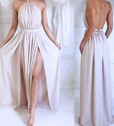 Elegant Sexy Prom Dresses,Halter Prom Dresses,Backless Prom Dresses,With Slit Prom Dresses,Long Evening Dresses
