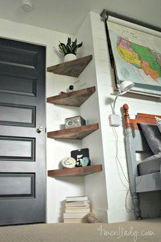 13 ideas for simple living room shelves DIY projects, ., 13 ideas for simple living room shelves DIY projects, Floating Corner Shelves, Corner Shelving, Glass Shelves, Floating Wall, Wood Shelves, Dyi Bookshelves, Hallway Shelving, Staircase Shelves, Floating Bookshelves