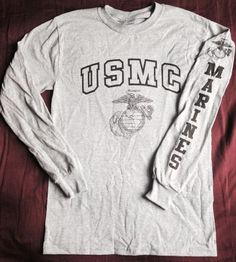 "$16 - Gray Marine Corps PT Long Sleeve T-Shirt ""USMC"""