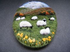 Handmade needle felted brooch/Gift 'The Autumn Meadow' by Tracey Dunn | eBay