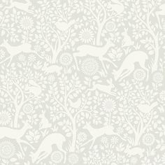 Rendered in a chic silhouette style, this darling wall covering brings an enchanted woodland harmony to walls that captivates in a stylish ivory and light grey palette.