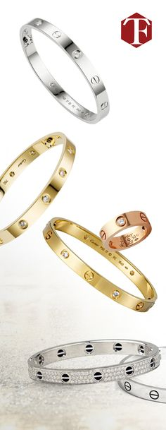 Stunning Cartier Love Bracelets in gold, rose gold, and white gold & diamonds Jewelry Box, Jewelry Accessories, Fashion Accessories, Fine Jewelry, Jewelry Design, Fashion Jewelry, Jewelry Watches, Love Bracelets, Cartier Love Bracelet