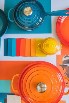 Le Creuset Colors: Flame, Deep Teal and Nectar. 🌈 Which hue is at the top of your wish list this year? 📸: Instagram @splendid_rags Le Creuset Colors, Kitchen Ideas, Kitchen Decor, From Farm To Table, Le Creuset Cast Iron, Deep Teal, Orange, Yellow, My Dream Home