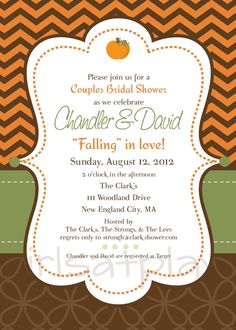 bridal shower fall autumn pumpkin invitation invite by girlsatplay