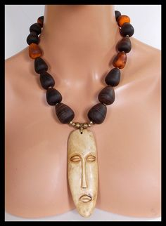 LEGA MASK - Handcarved African Lega Mask - Moroccan Horn Spindles - 1 of a Kind Statement Necklace