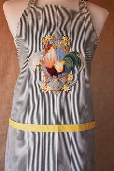 French Rooster and Fleur De Lis Chef's Apron Embroidered on Black and White Pinstriped Cotton Blend Fabric by NestingInstinctShop on Etsy