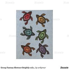 Group Fantasy Abstract Brightly colored Turtles Wood Poster