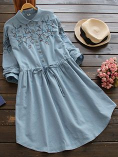 Peter Pan Collar Embroidered Drawstring Shirt Dress Source by sristisharma Dresses Stylish Dresses For Girls, Casual Dresses, Casual Outfits, Dresses Dresses, Summer Dresses, Muslim Fashion, Hijab Fashion, Fashion Dresses, Fasion
