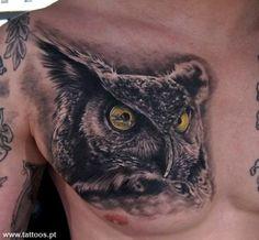 Cabeça coruja - Owl Head Tattoo